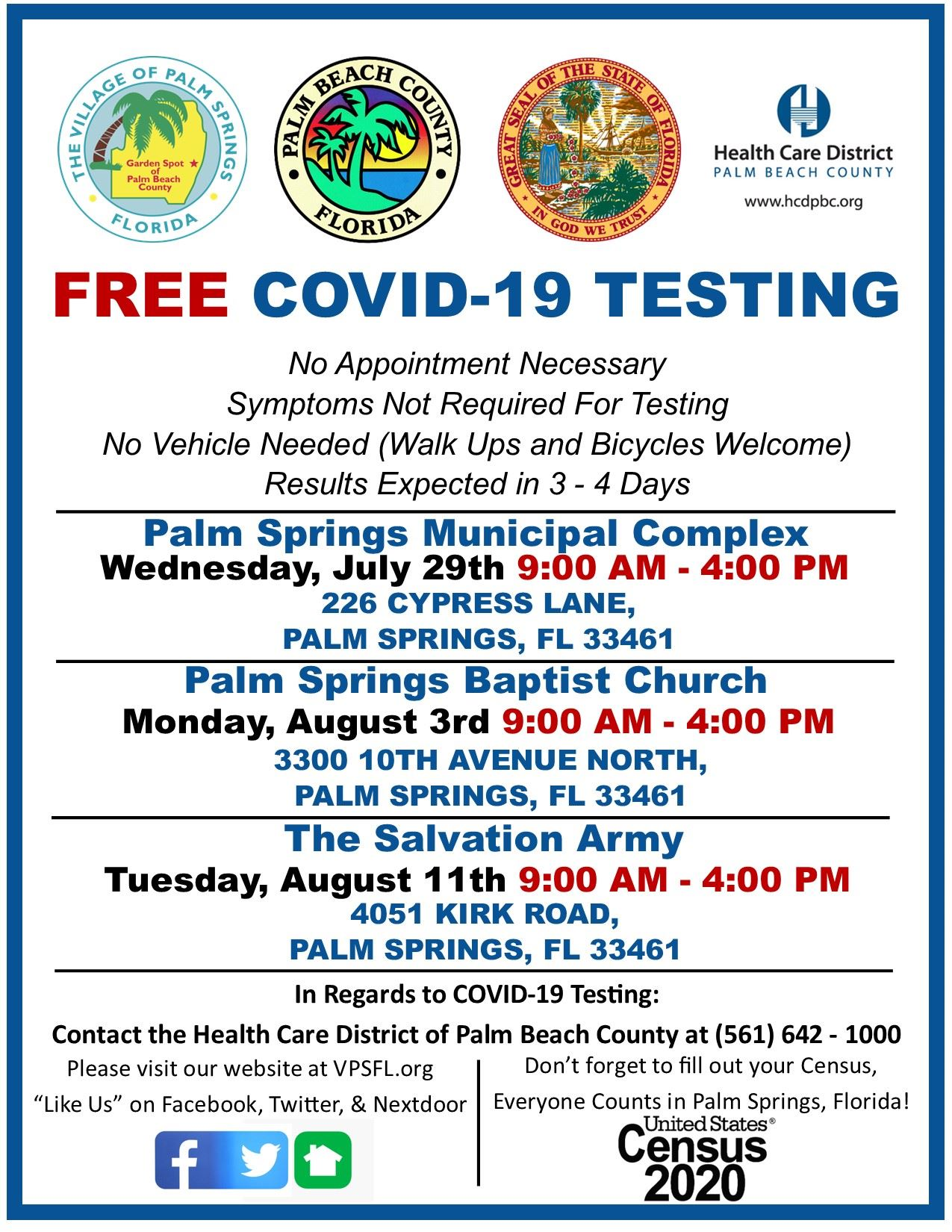 COVID-19 Testing Flyer 3 Sites