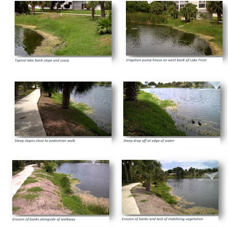 Lake Frost Group photos showing erosion and steepness of the bank and irrigation pump house