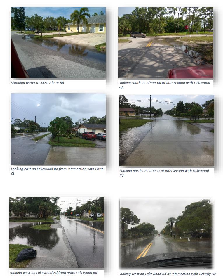 Lakewood Rd. west of Kirk Rd. group photos of standing water 3550 Almar Rd., Lakewood Rd., Patio Ct., 4363 Lakewood Rd. and near Beverly Dr.
